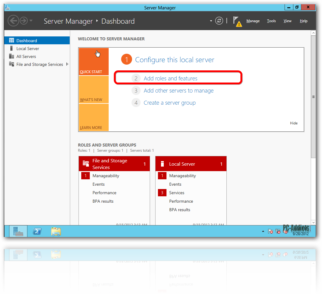 Server 2012 - Add Roles and Features