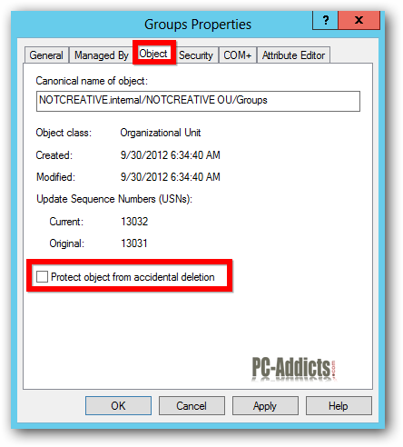 Server 2012 Protect Object from Accidental Deletion