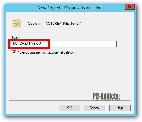 Server 2012 Name the OU