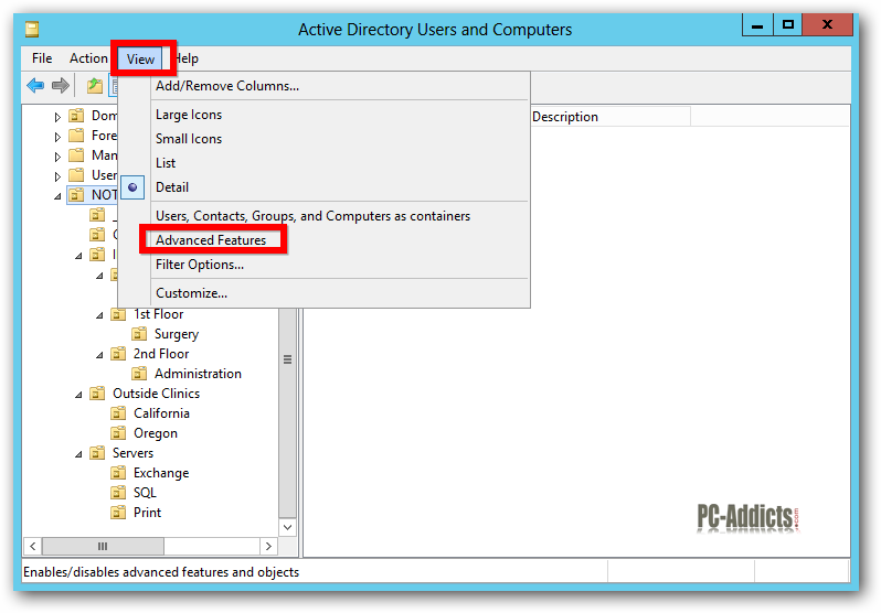 Server 2012 ADUC Advanced Features