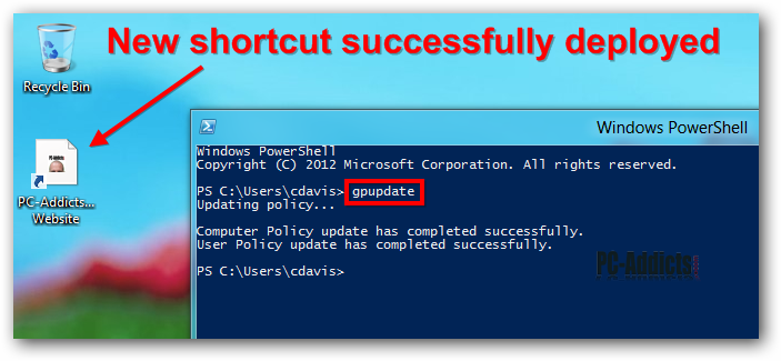 Server 2012 Windows 8 Deployed Shortcut Gpupdate