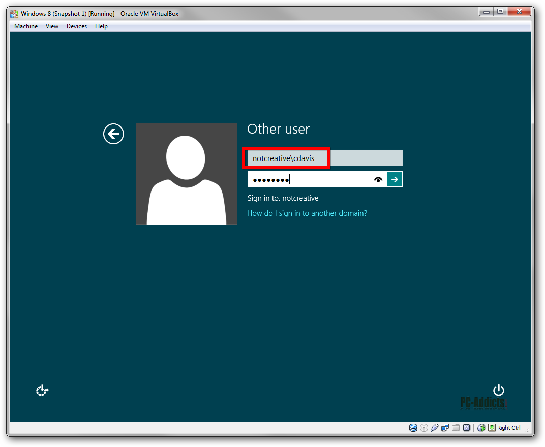 Windows 8 Domain Login
