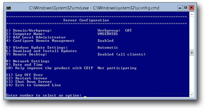 Hyper-V Server 2012 Menu