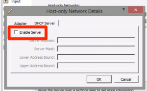 VirttualBox Disable DHCP Server