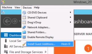 VirtualBox Windows Server 2012 Install Guest Additions