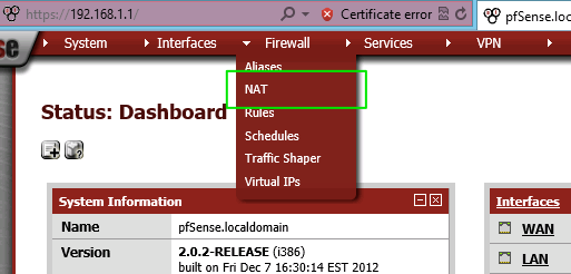 how to connect to pfsense web interface