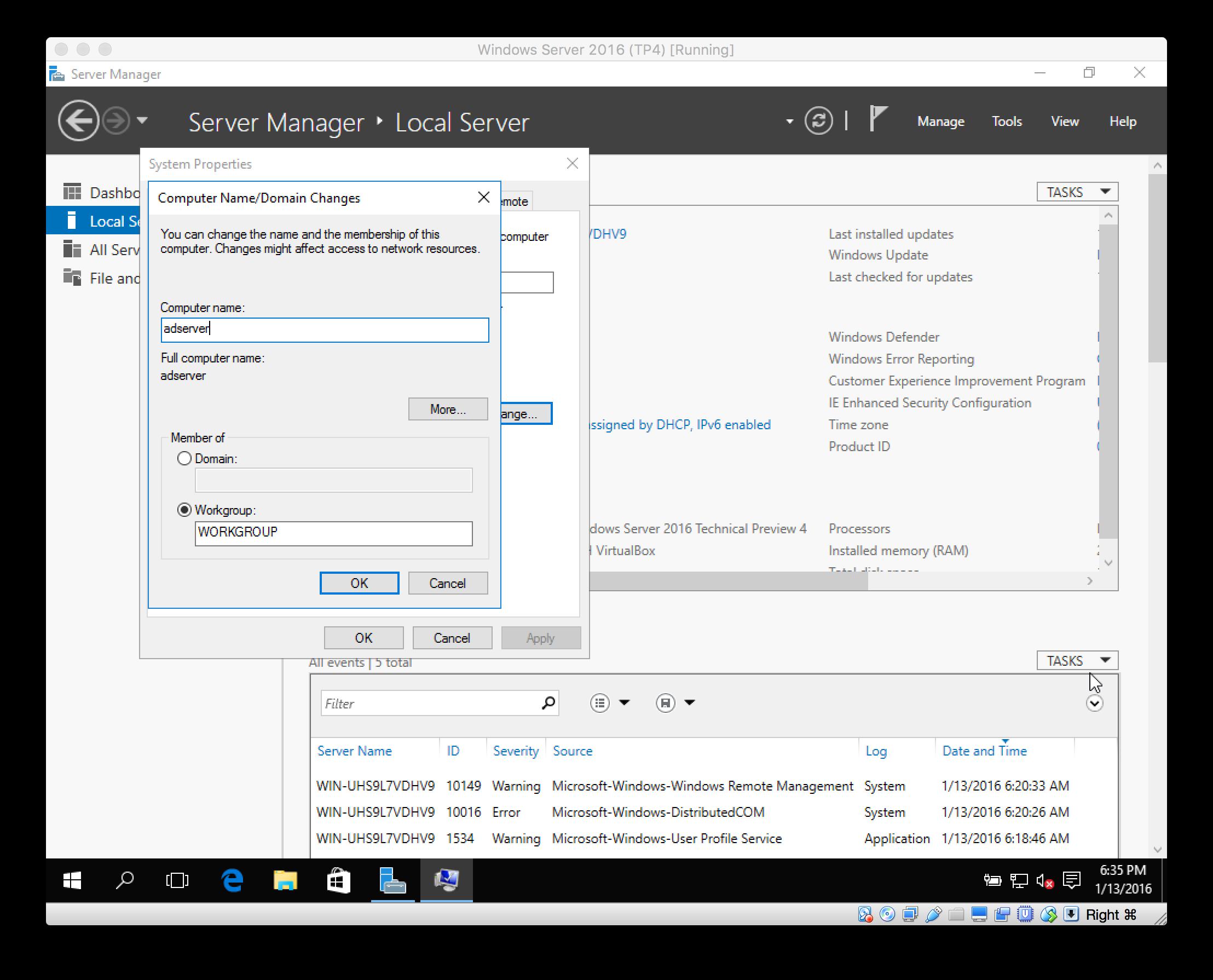 Install Server 2016 - VirtualBox